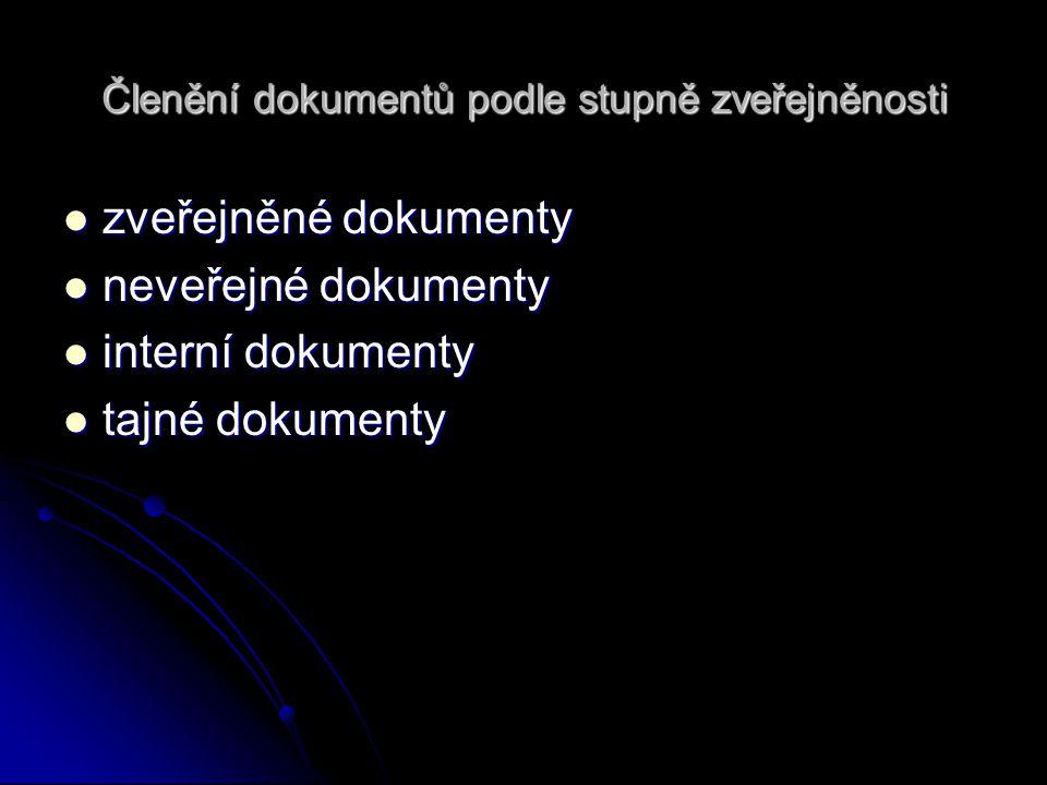 Členění dokumentů podle stupně zveřejněnosti zveřejněné dokumenty zveřejněné dokumenty neveřejné dokumenty neveřejné dokumenty interní dokumenty inter
