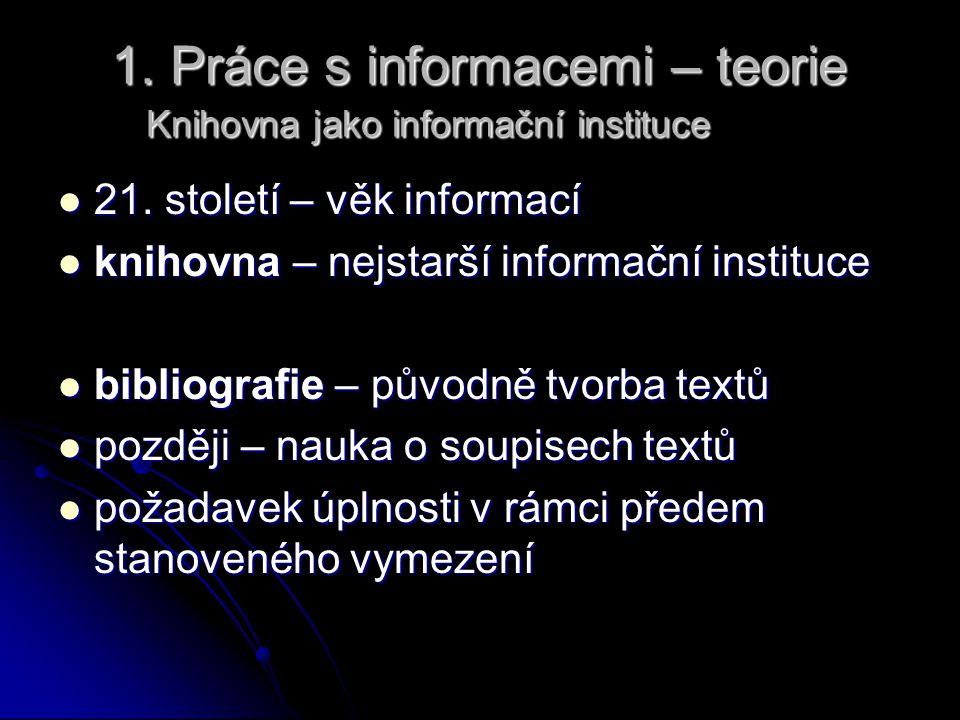 1. Práce s informacemi – teorie Knihovna jako informační instituce 21. století – věk informací 21. století – věk informací knihovna – nejstarší inform