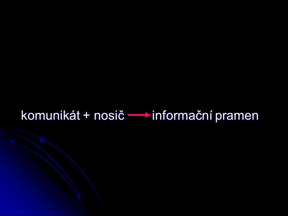 komunikát + nosič informační pramen komunikát + nosič informační pramen