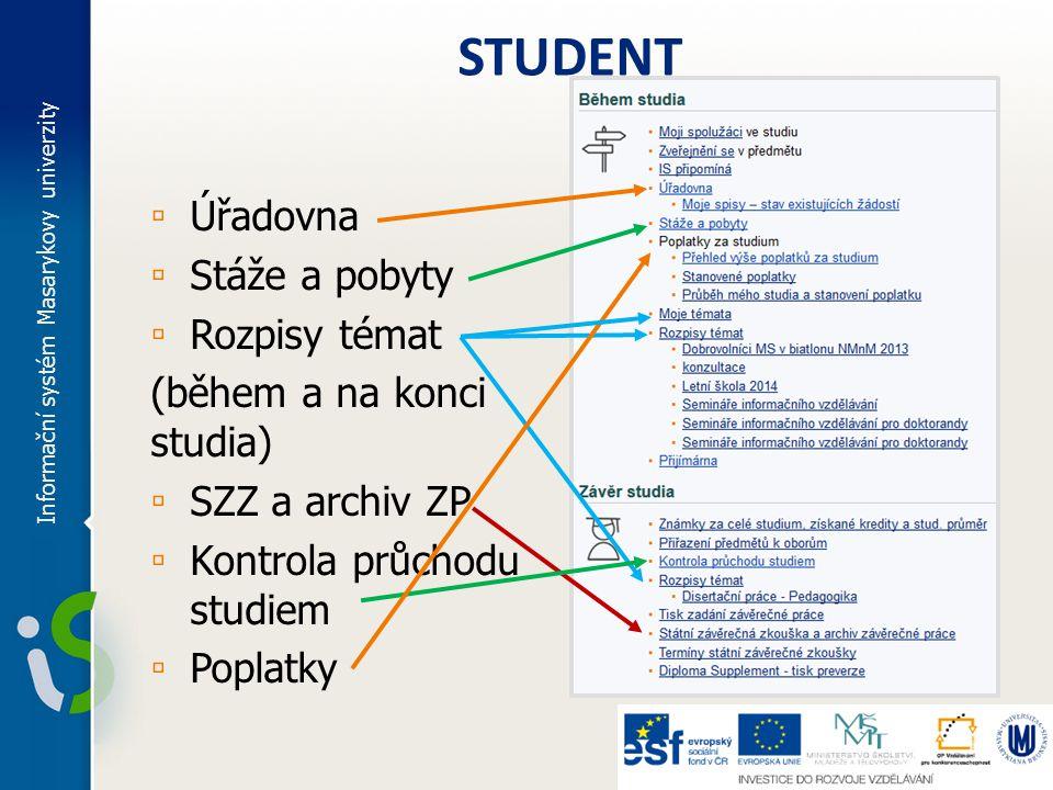 Rozpisy témat ▫ Student si sám vytváří téma v příslušném rozpisu ▫ český název, anglický název, vedoucí tématu ▫ Vedoucí práce potvrzuje přihlášení a povoluje změny u tématu ▫ Vložení projektuoficiální zadání Informační systém Masarykovy univerzity