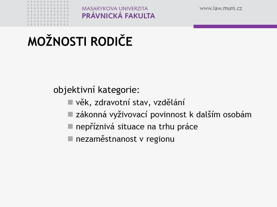 www.law.muni.cz MOŽNOSTI RODIČE objektivní kategorie: věk, zdravotní stav, vzdělání zákonná vyživovací povinnost k dalším osobám nepříznivá situace na