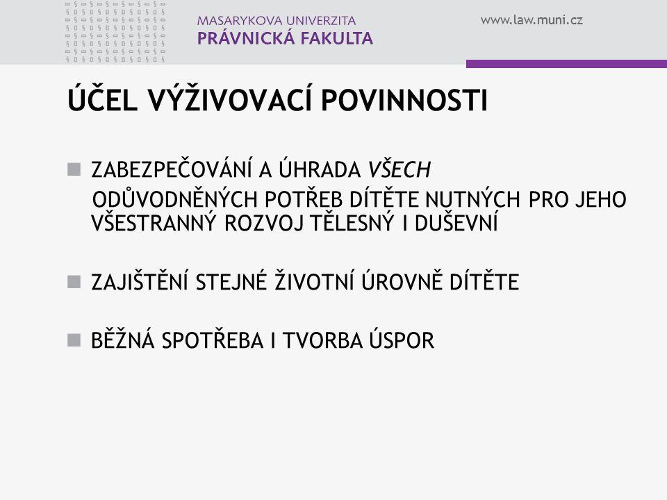www.law.muni.cz VZNIK VYŽIVOVACÍ POVINNOSTI ex lege se vznikem statusu rodič - dítě rodiče dítěte nemusí být manželé mateřství § 50a ZOR otcovství § 51 a násl.