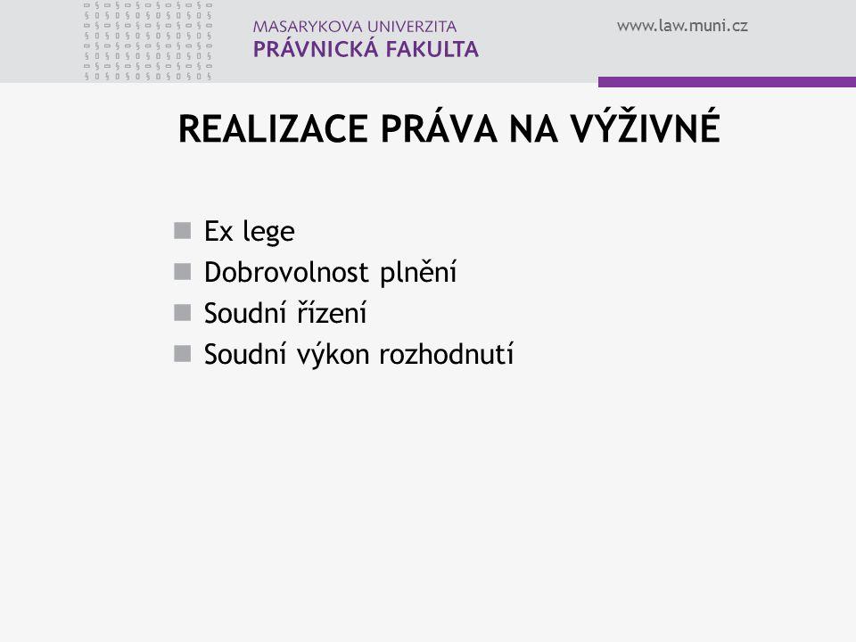 www.law.muni.cz REALIZACE PRÁVA NA VÝŽIVNÉ Ex lege Dobrovolnost plnění Soudní řízení Soudní výkon rozhodnutí