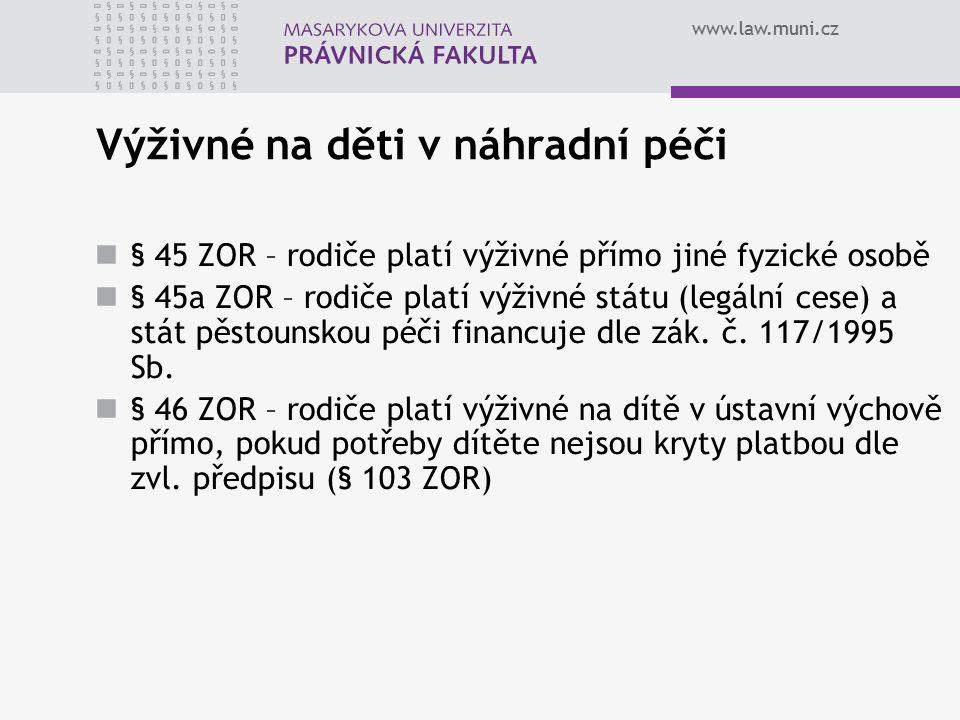 www.law.muni.cz Výživné na děti v náhradní péči § 45 ZOR – rodiče platí výživné přímo jiné fyzické osobě § 45a ZOR – rodiče platí výživné státu (legální cese) a stát pěstounskou péči financuje dle zák.