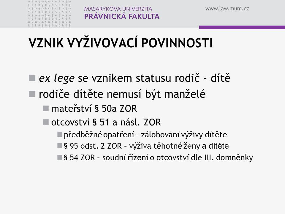 www.law.muni.cz VZNIK VYŽIVOVACÍ POVINNOSTI ex lege se vznikem statusu rodič - dítě rodiče dítěte nemusí být manželé mateřství § 50a ZOR otcovství § 5