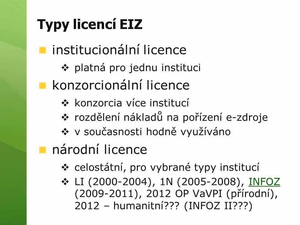 Typy licencí EIZ institucionální licence  platná pro jednu instituci konzorcionální licence  konzorcia více institucí  rozdělení nákladů na pořízení e-zdroje  v současnosti hodně využíváno národní licence  celostátní, pro vybrané typy institucí  LI (2000-2004), 1N (2005-2008), INFOZ (2009-2011), 2012 OP VaVPI (přírodní), 2012 – humanitní??.