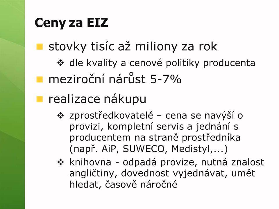 Ceny za EIZ stovky tisíc až miliony za rok  dle kvality a cenové politiky producenta meziroční nárůst 5-7% realizace nákupu  zprostředkovatelé – cena se navýší o provizi, kompletní servis a jednání s producentem na straně prostředníka (např.