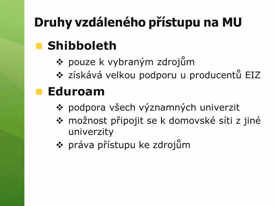 Druhy vzdáleného přístupu na MU Shibboleth  pouze k vybraným zdrojům  získává velkou podporu u producentů EIZ Eduroam  podpora všech významných univerzit  možnost připojit se k domovské síti z jiné univerzity  práva přístupu ke zdrojům