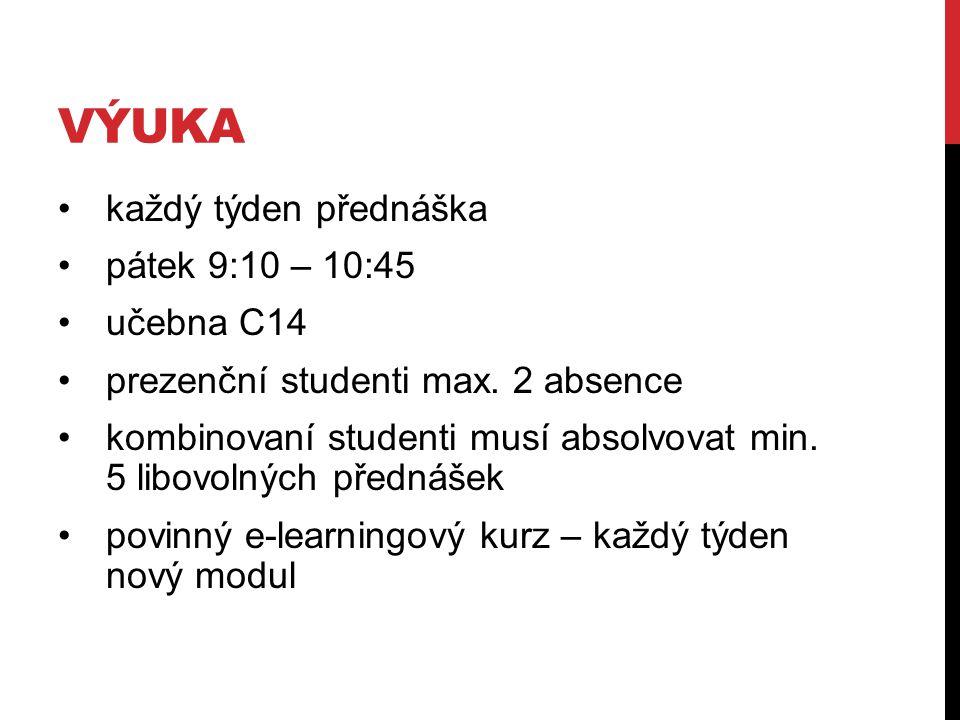 VÝUKA každý týden přednáška pátek 9:10 – 10:45 učebna C14 prezenční studenti max. 2 absence kombinovaní studenti musí absolvovat min. 5 libovolných př