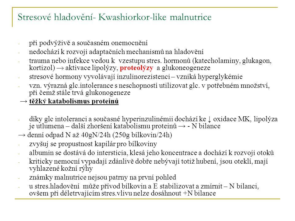 Stresové hladovění- Kwashiorkor-like malnutrice - při podvýživě a současném onemocnění - nedochází k rozvoji adaptačních mechanismů na hladovění - tra