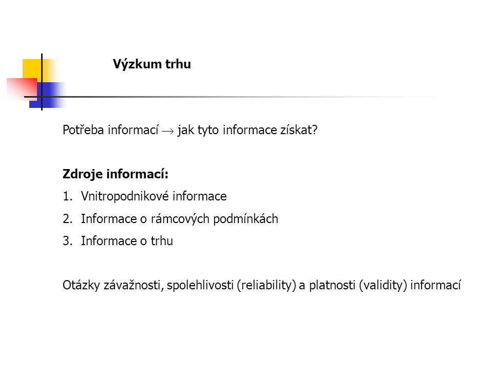 Výzkum trhu Potřeba informací  jak tyto informace získat.