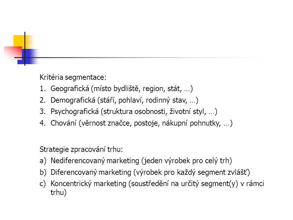 Kritéria segmentace: 1.Geografická (místo bydliště, region, stát, …) 2.Demografická (stáří, pohlaví, rodinný stav, …) 3.Psychografická (struktura osobnosti, životní styl, …) 4.Chování (věrnost značce, postoje, nákupní pohnutky, …) Strategie zpracování trhu: a)Nediferencovaný marketing (jeden výrobek pro celý trh) b)Diferencovaný marketing (výrobek pro každý segment zvlášť) c)Koncentrický marketing (soustředění na určitý segment(y) v rámci trhu)