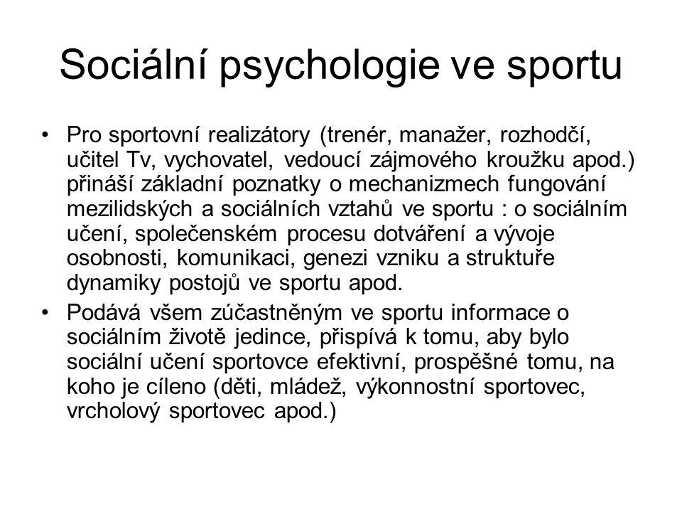 Sociální psychologie ve sportu Pro sportovní realizátory (trenér, manažer, rozhodčí, učitel Tv, vychovatel, vedoucí zájmového kroužku apod.) přináší z