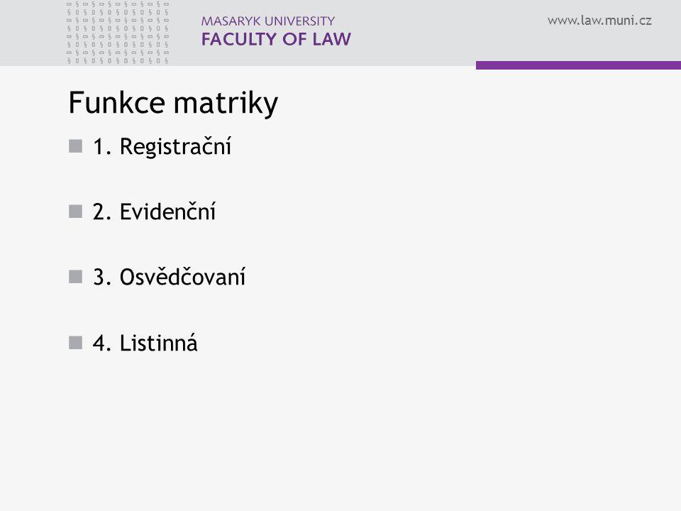 www.law.muni.cz Funkce matriky 1. Registrační 2. Evidenční 3. Osvědčovaní 4. Listinná