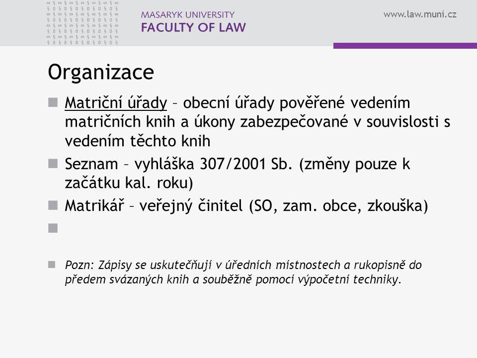 www.law.muni.cz Organizace Matriční úřady – obecní úřady pověřené vedením matričních knih a úkony zabezpečované v souvislosti s vedením těchto knih Seznam – vyhláška 307/2001 Sb.