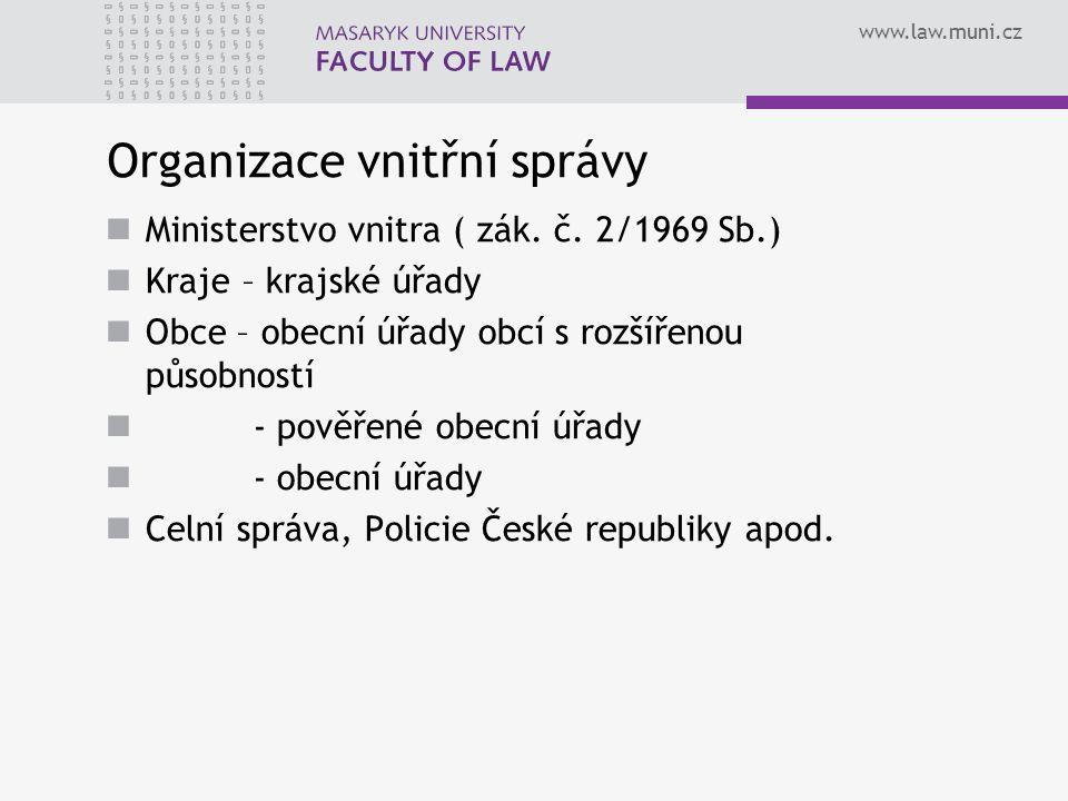 www.law.muni.cz Organizace vnitřní správy Ministerstvo vnitra ( zák.
