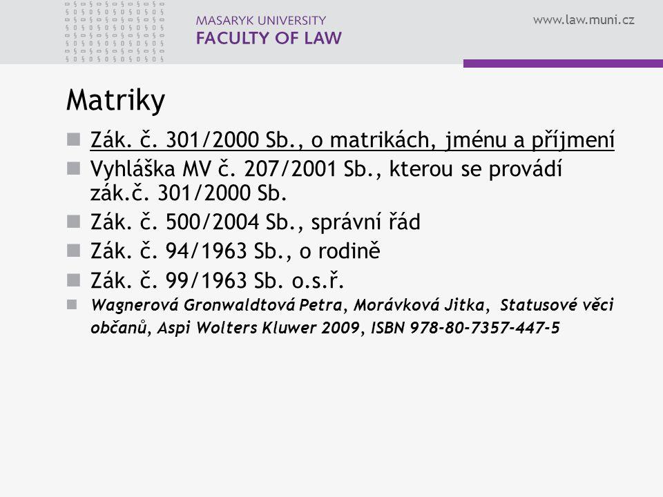 www.law.muni.cz Matriky Zák.č. 301/2000 Sb., o matrikách, jménu a příjmení Vyhláška MV č.