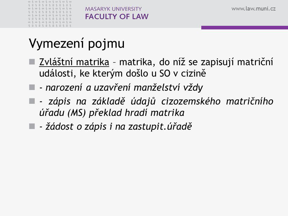 www.law.muni.cz Struktura Knihy – svázané tiskopisy a jmenný rejstřík Sbírka listin – listiny (převážně veřejné), které tvoří podklad pro matriční zápis, jeho změnu nebo opravu (př.