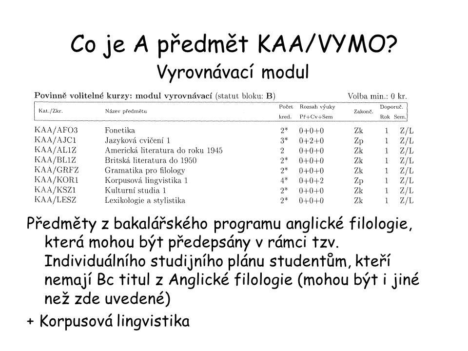 Co je A předmět KAA/VYMO? Vyrovnávací modul Předměty z bakalářského programu anglické filologie, která mohou být předepsány v rámci tzv. Individuálníh