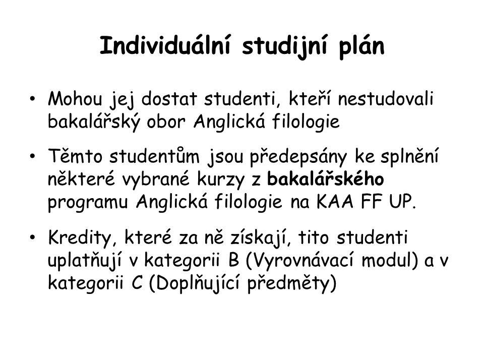 Individuální studijní plán Mohou jej dostat studenti, kteří nestudovali bakalářský obor Anglická filologie Těmto studentům jsou předepsány ke splnění