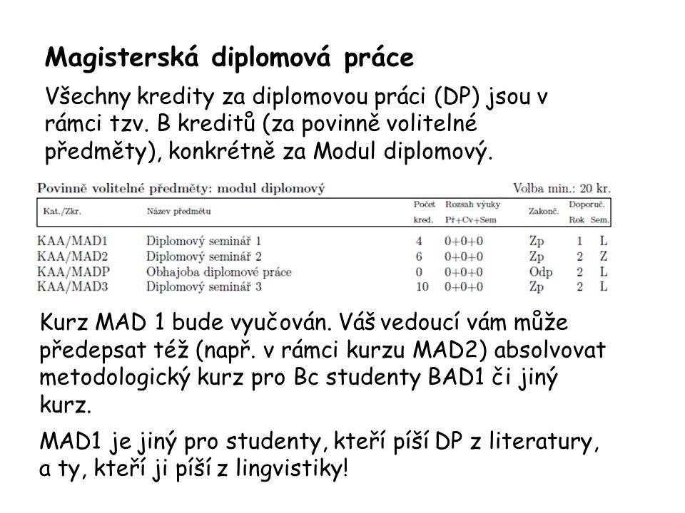 Magisterská diplomová práce Všechny kredity za diplomovou práci (DP) jsou v rámci tzv. B kreditů (za povinně volitelné předměty), konkrétně za Modul d