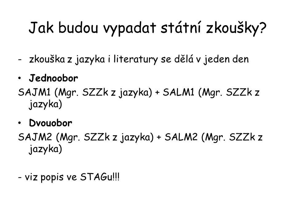Jak budou vypadat státní zkoušky? -zkouška z jazyka i literatury se dělá v jeden den Jednoobor SAJM1 (Mgr. SZZk z jazyka) + SALM1 (Mgr. SZZk z jazyka)