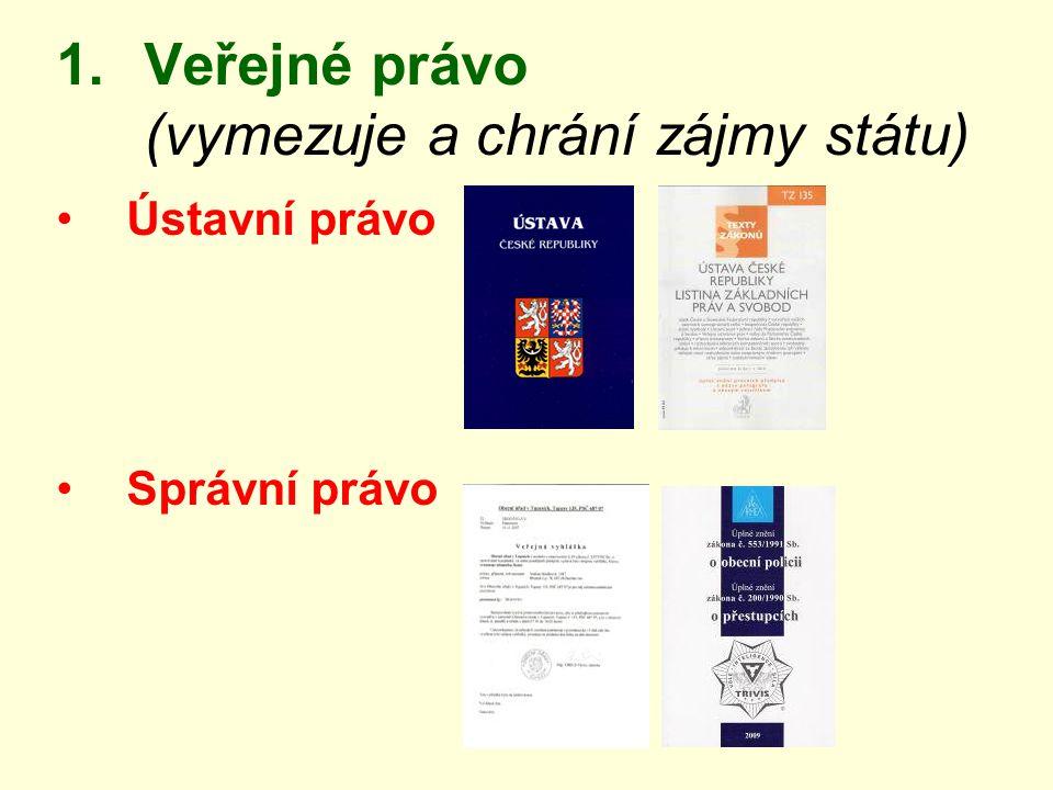 1.Veřejné právo (vymezuje a chrání zájmy státu) Ústavní právo Správní právo
