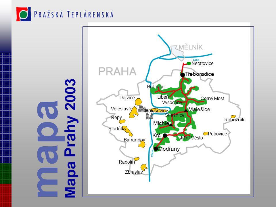 Efektivnost teplárenské soustavy Mělník- Praha dochází k zásadnímu zlepšení ekonomických parametrů výroby-kogenerace postupným odstavováním menších zd