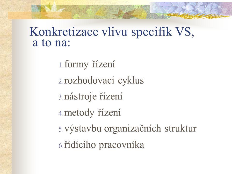 Konkretizace vlivu specifik VS, a to na: 1. formy řízení 2.