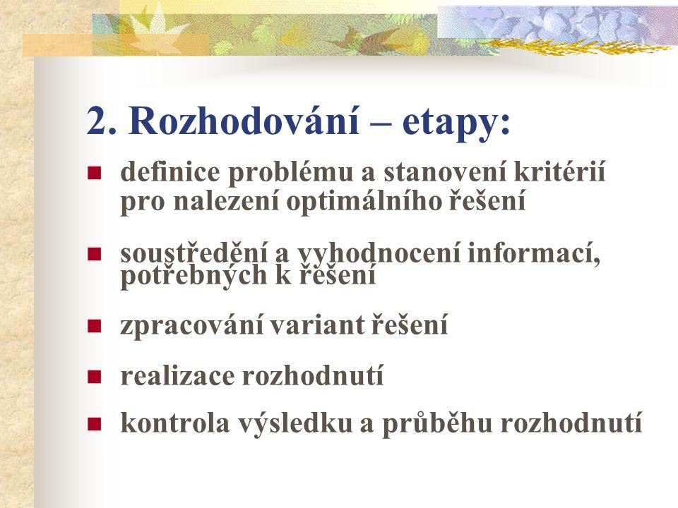 2. Rozhodování – etapy: definice problému a stanovení kritérií pro nalezení optimálního řešení soustředění a vyhodnocení informací, potřebných k řešen