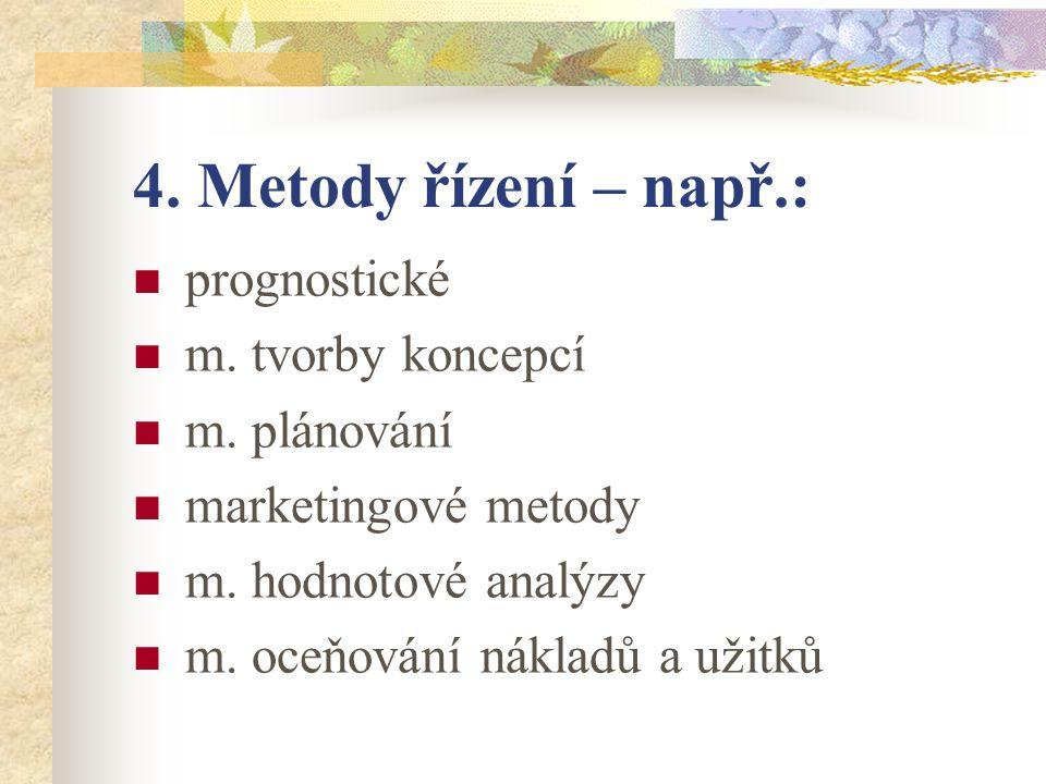 4. Metody řízení – např.: prognostické m. tvorby koncepcí m.