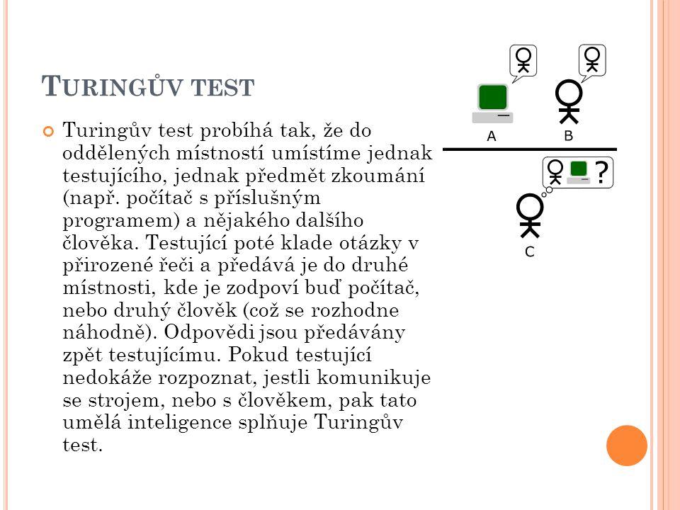 T URINGŮV TEST Turingův test probíhá tak, že do oddělených místností umístíme jednak testujícího, jednak předmět zkoumání (např. počítač s příslušným