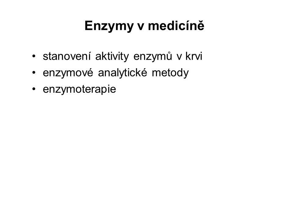 Enzymy v medicíně stanovení aktivity enzymů v krvi enzymové analytické metody enzymoterapie