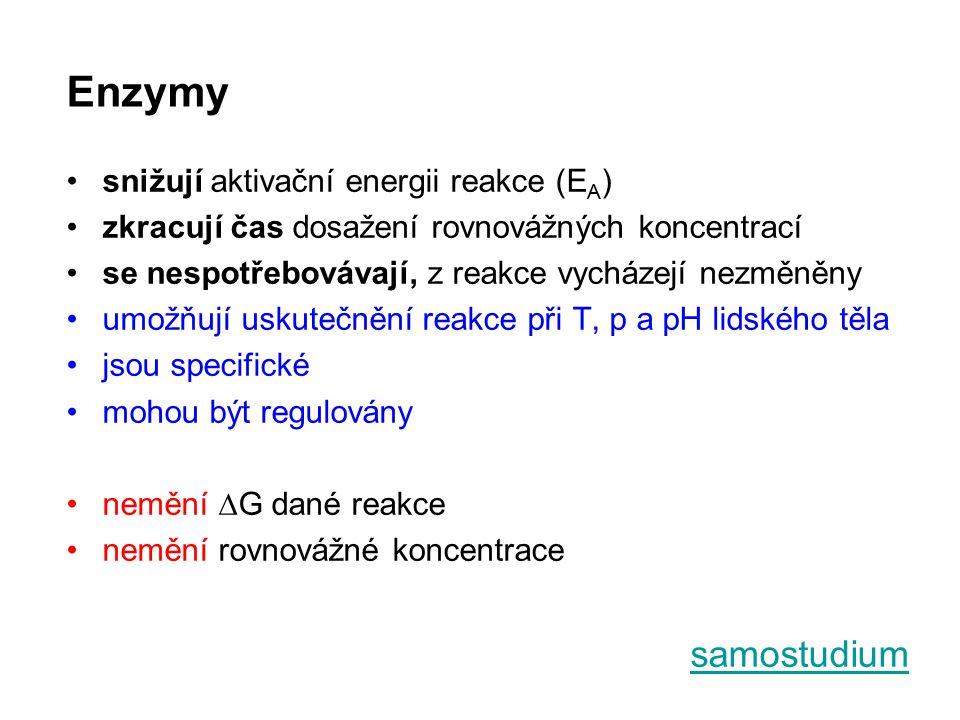 IUMB nomenklatura enzymů EC nomenklatura * každý enzym má své EC číslo (Enzyme Commission of IUBMB) – 6 tříd enzymů: EC 1.x.x.xoxidoreduktázy EC 2.x.x.xtransferázy EC 3.x.x.xhydrolázy EC 4.x.x.xlyázy EC 5.x.x.xizomerázy EC 6.x.x.xligázy (syntetázy) → vychází z typu enzymem katalyzované reakce