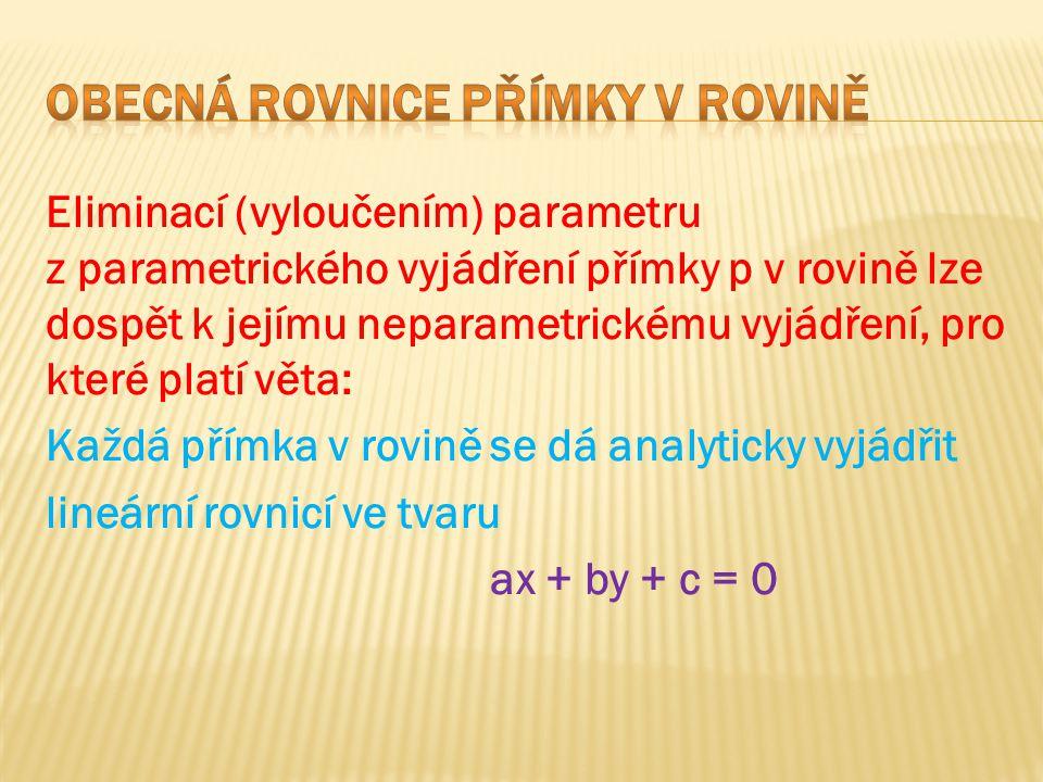 Eliminací (vyloučením) parametru z parametrického vyjádření přímky p v rovině lze dospět k jejímu neparametrickému vyjádření, pro které platí věta: Ka