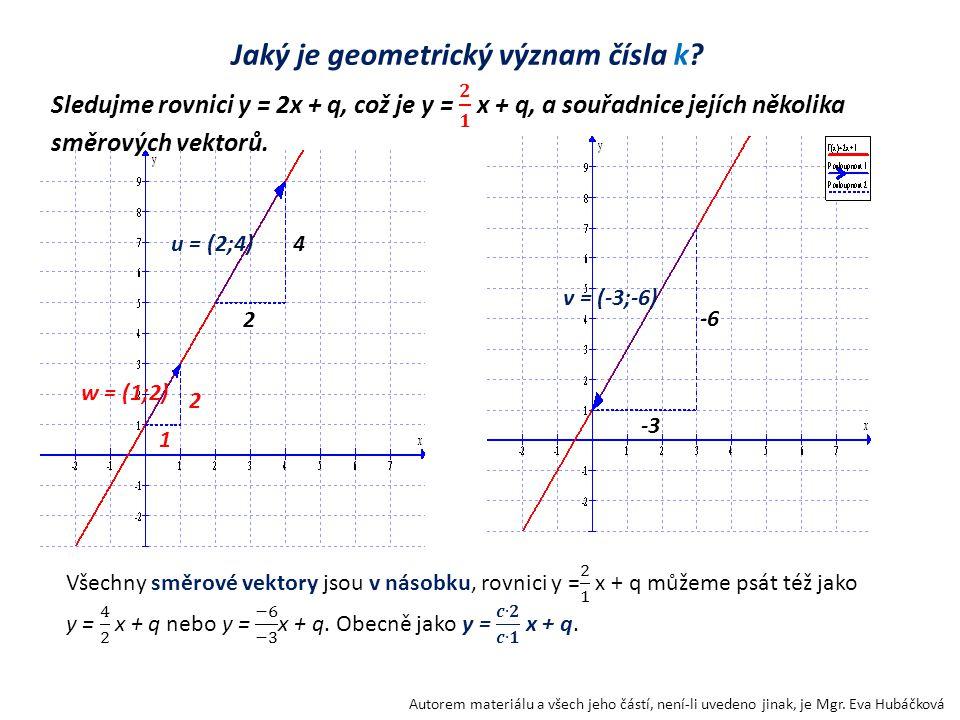 Jaký je geometrický význam čísla k? Autorem materiálu a všech jeho částí, není-li uvedeno jinak, je Mgr. Eva Hubáčková 2 4u = (2;4) -3 -6 v = (-3;-6)
