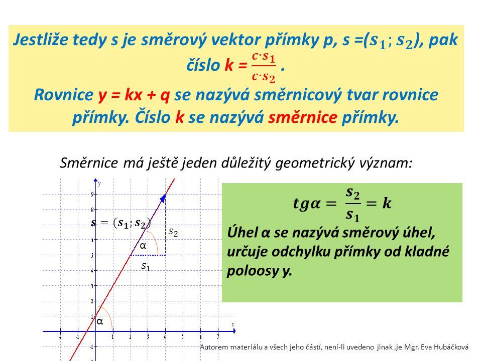 Autorem materiálu a všech jeho částí, není-li uvedeno jinak,je Mgr. Eva Hubáčková Směrnice má ještě jeden důležitý geometrický význam: α α