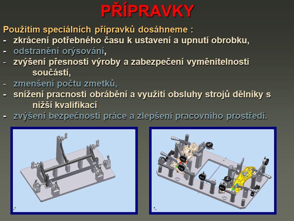 PŘÍPRAVKY Podle použití se dělí speciální přípravky na : 1) soustružnické přípravky, 2) přípravky pro broušení, 3) frézovací přípravky, 4) vrtací a vyvrtávací přípravky, 5) přípravky pro ostatní obráběcí stroje, 6) montážní přípravky.