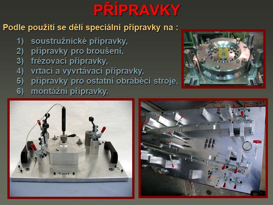 PŘÍPRAVKY Podle použití se dělí speciální přípravky na : 1) soustružnické přípravky, 2) přípravky pro broušení, 3) frézovací přípravky, 4) vrtací a vy