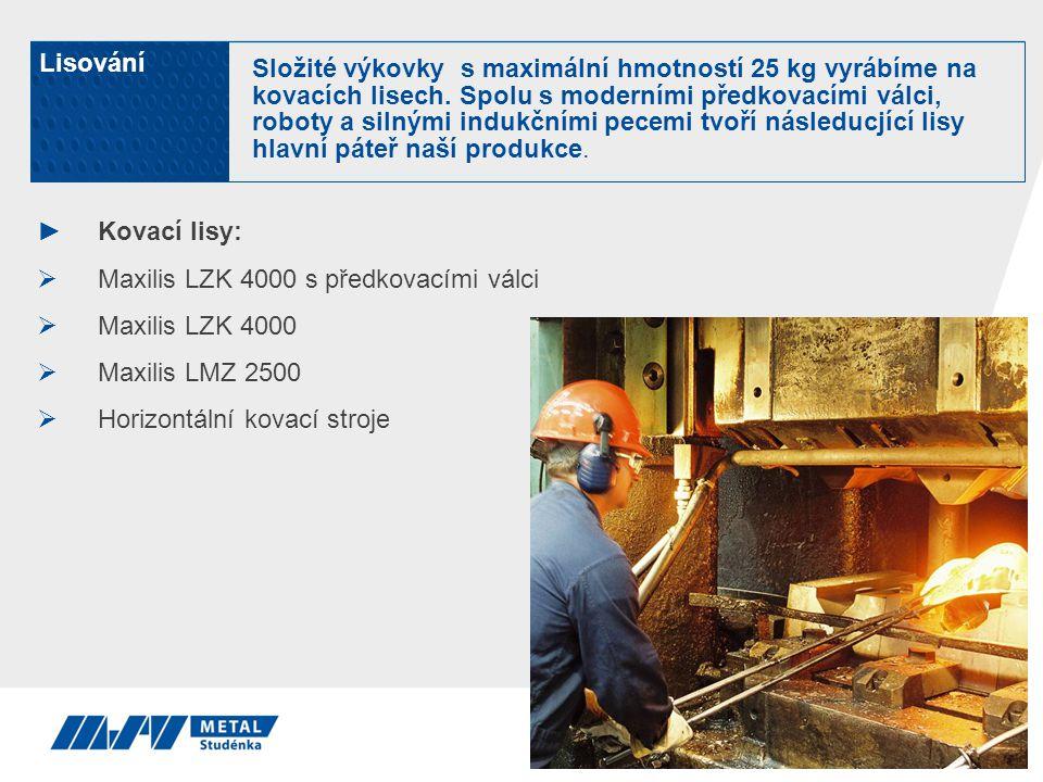 ►Kovací lisy:  Maxilis LZK 4000 s předkovacími válci  Maxilis LZK 4000  Maxilis LMZ 2500  Horizontální kovací stroje Lisování Složité výkovky s ma