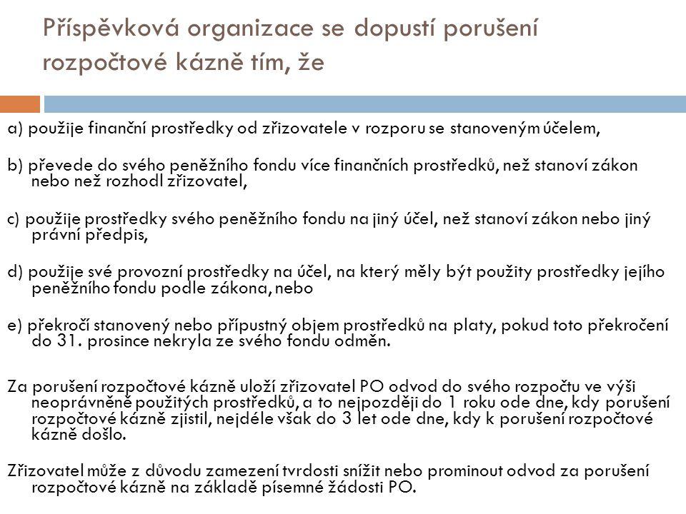 Příspěvková organizace se dopustí porušení rozpočtové kázně tím, že a) použije finanční prostředky od zřizovatele v rozporu se stanoveným účelem, b) p