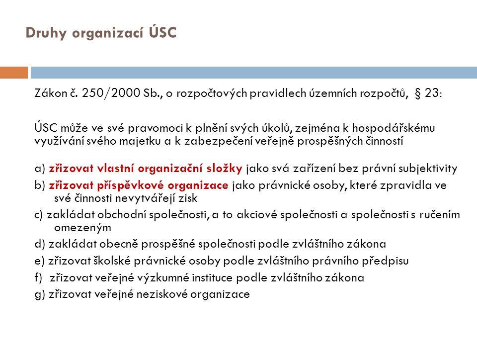 Druhy organizací ÚSC Zákon č. 250/2000 Sb., o rozpočtových pravidlech územních rozpočtů, § 23: ÚSC může ve své pravomoci k plnění svých úkolů, zejména