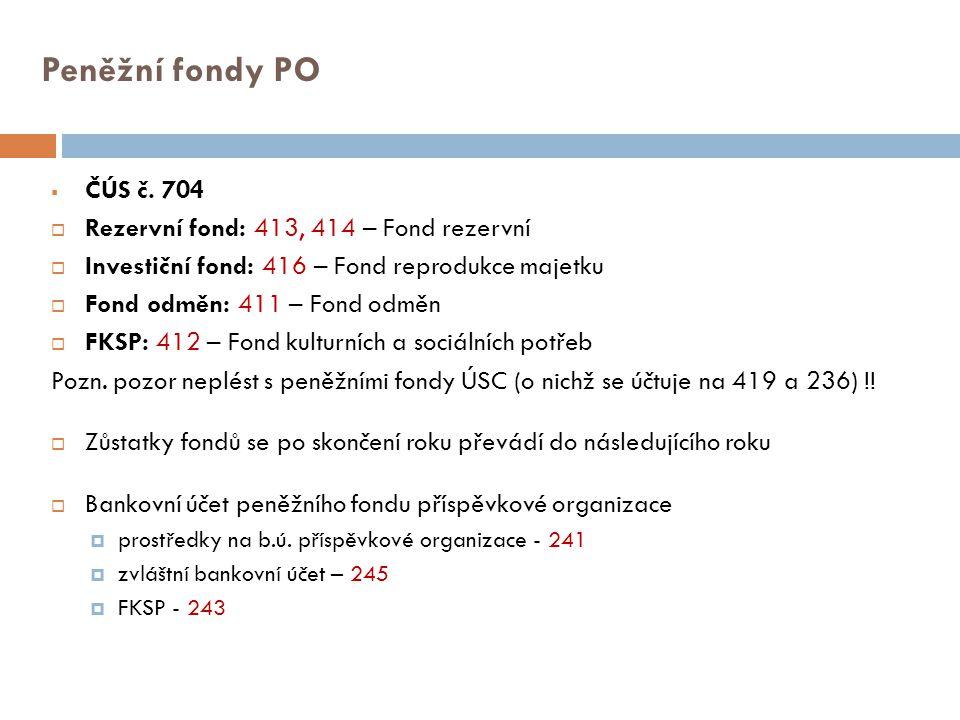 Peněžní fondy PO  ČÚS č. 704  Rezervní fond: 413, 414 – Fond rezervní  Investiční fond: 416 – Fond reprodukce majetku  Fond odměn: 411 – Fond odmě