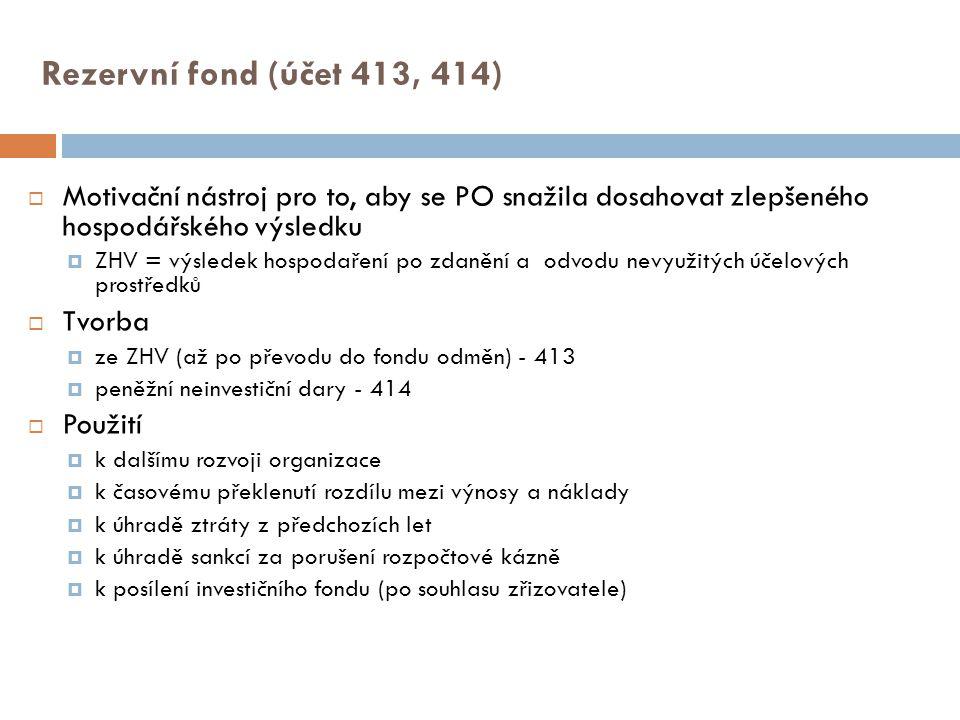 Rezervní fond (účet 413, 414)  Motivační nástroj pro to, aby se PO snažila dosahovat zlepšeného hospodářského výsledku  ZHV = výsledek hospodaření p