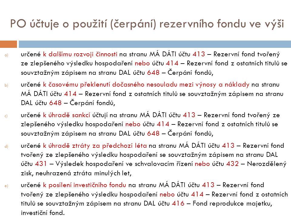 PO účtuje o použití (čerpání) rezervního fondu ve výši a) určené k dalšímu rozvoji činnosti na stranu MÁ DÁTI účtu 413 – Rezervní fond tvořený ze zlep