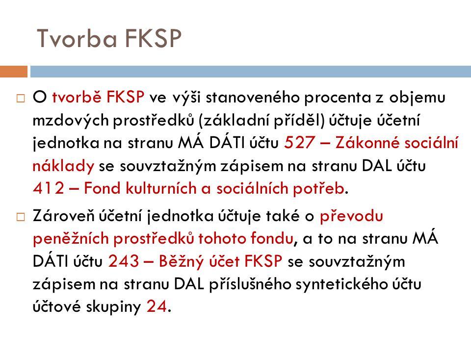 Tvorba FKSP  O tvorbě FKSP ve výši stanoveného procenta z objemu mzdových prostředků (základní příděl) účtuje účetní jednotka na stranu MÁ DÁTI účtu