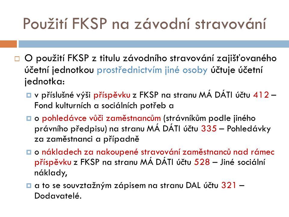 Použití FKSP na závodní stravování  O použití FKSP z titulu závodního stravování zajišťovaného účetní jednotkou prostřednictvím jiné osoby účtuje úče