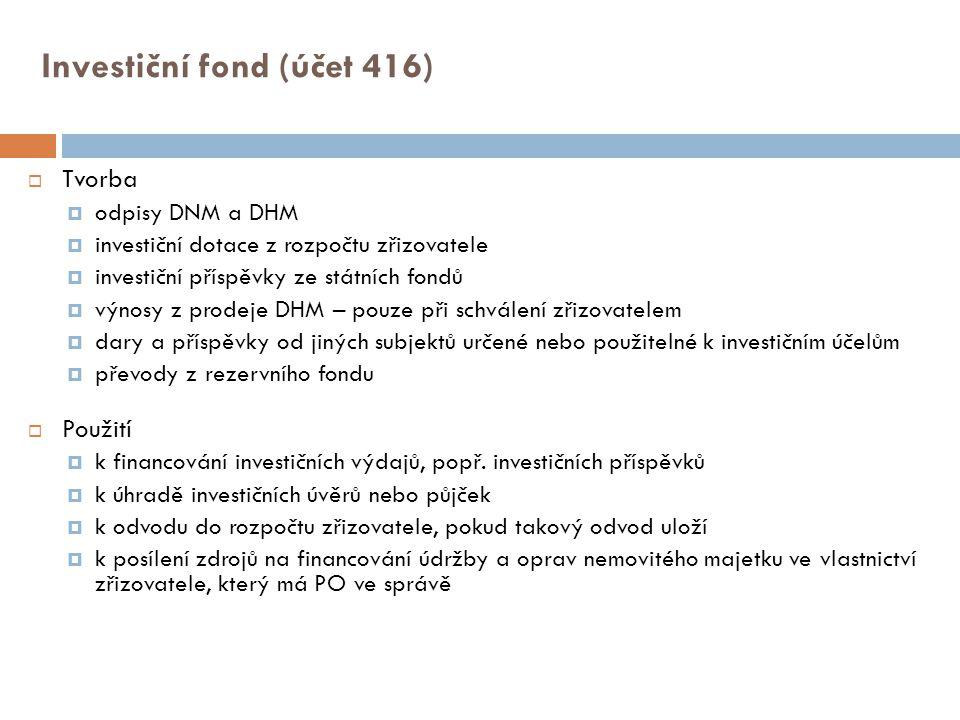 Investiční fond (účet 416)  Tvorba  odpisy DNM a DHM  investiční dotace z rozpočtu zřizovatele  investiční příspěvky ze státních fondů  výnosy z