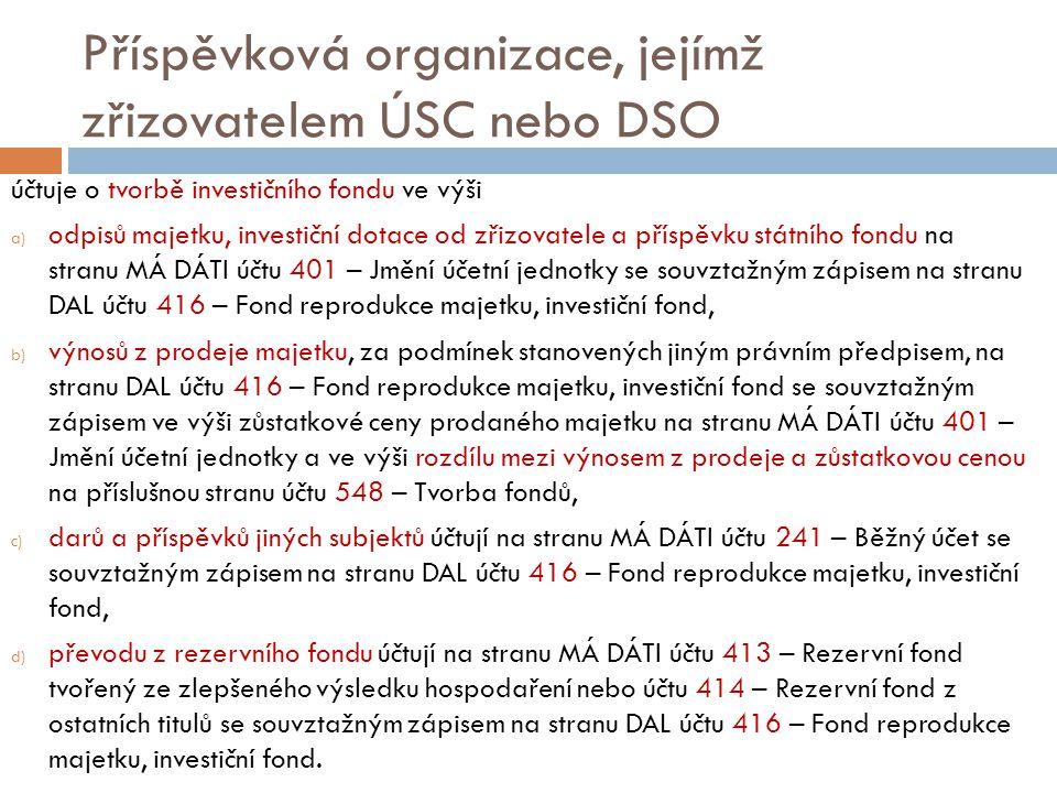 Příspěvková organizace, jejímž zřizovatelem ÚSC nebo DSO účtuje o tvorbě investičního fondu ve výši a) odpisů majetku, investiční dotace od zřizovatel