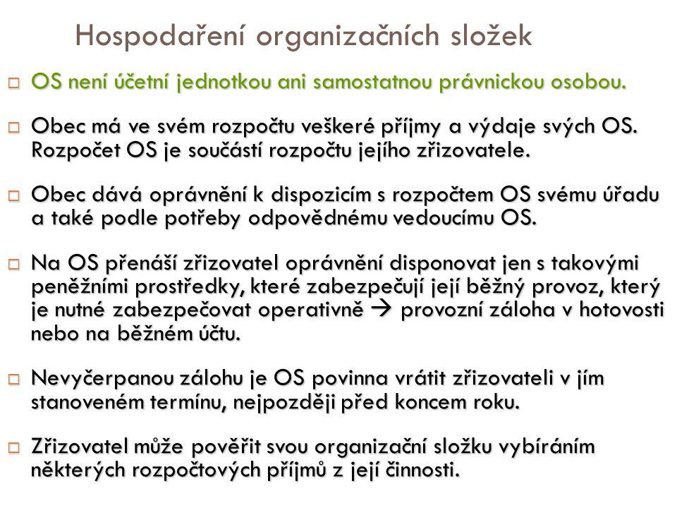 Hospodaření organizačních složek  OS není účetní jednotkou ani samostatnou právnickou osobou.  Obec má ve svém rozpočtu veškeré příjmy a výdaje svýc